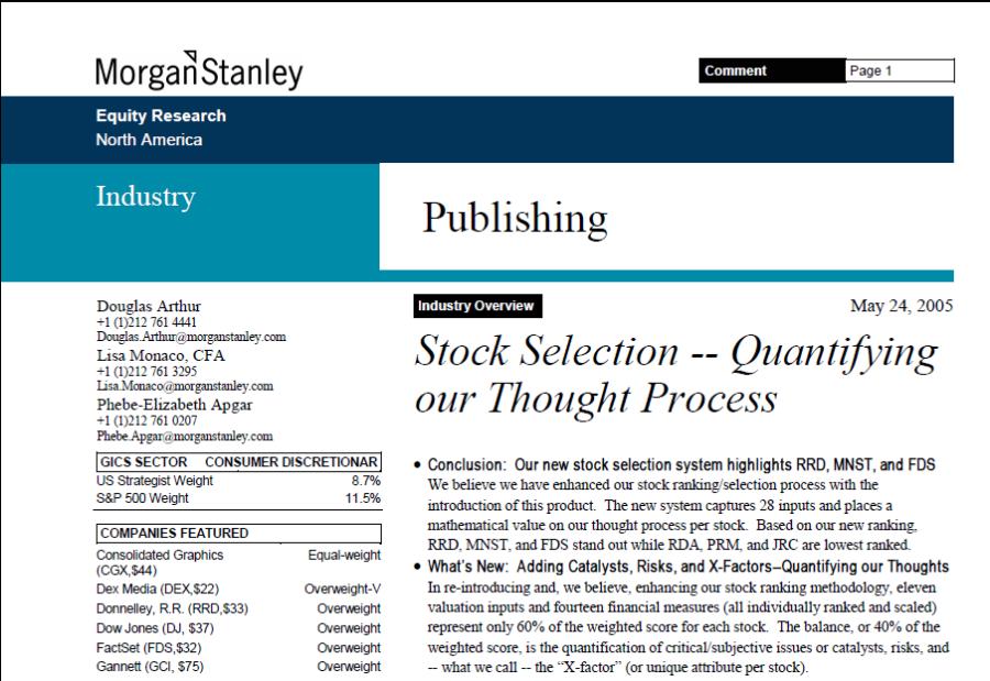 Morgan Stanley Snapshot
